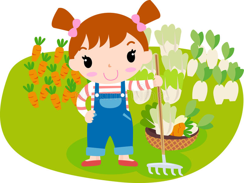 Cute girl and vegetable royalty free illustration