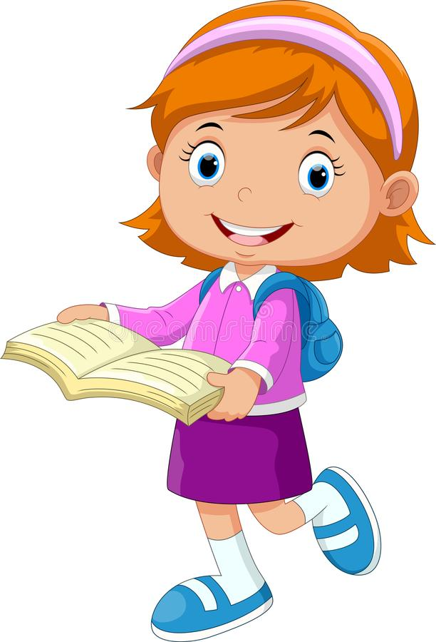 Cute girl walking with books go to school royalty free illustration