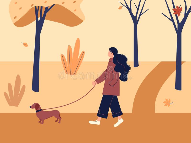 Cute girl walking with dog dachshund in autumn city park or forest. Fall soothing outdoors landscape: trees, leaves, bushes in. Trendy funky figures style vector illustration