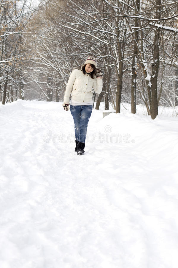 Cute girl walking in forest stock photos