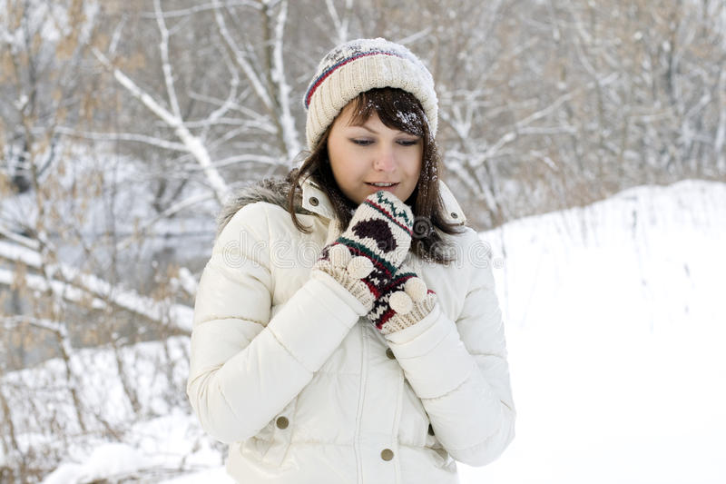 Cute girl walking in winter stock photos