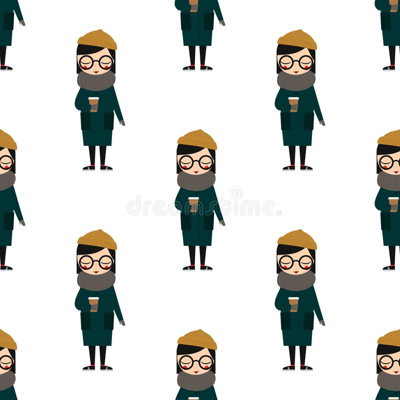Cute girl in warm clothes with coffee seamless pattern on white background. stock illustration