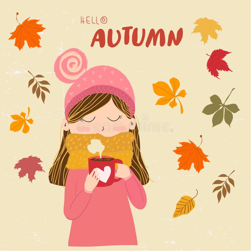 A cute girl in warm sweater with scarf holding coffee cup with hello autumn message. stock illustration