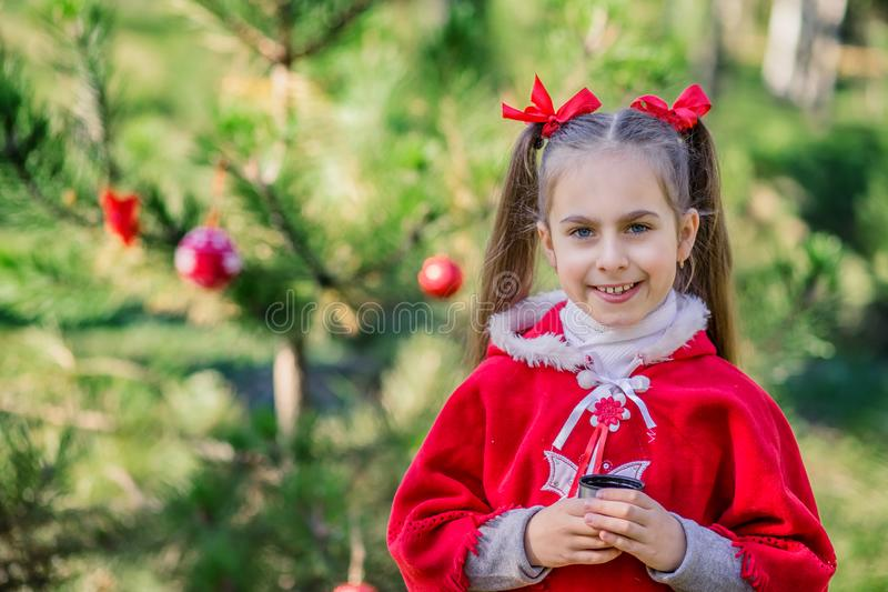Cute girl is warmed by a cup of tea on a cold day on the background of the Christmas tree. Merry Christmas and happy holidays stock images