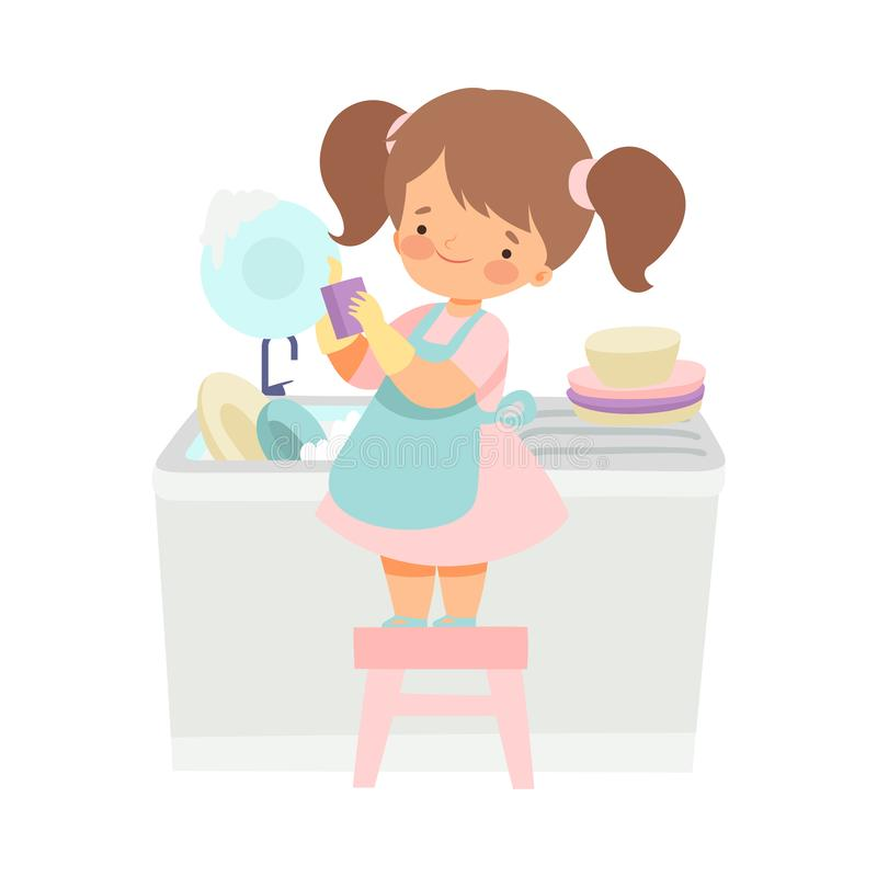 Cute Girl Washing Dishes, Adorable Kid Doing Housework Chores at Home Vector Illustration. On White Background royalty free illustration