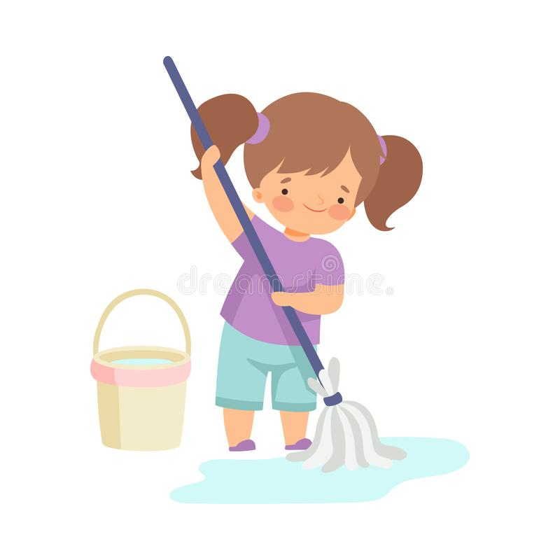 Cute Girl Washing the Floor with Bucket and Mop, Adorable Kid Doing Housework Chores at Home Vector Illustration. On White Background stock illustration