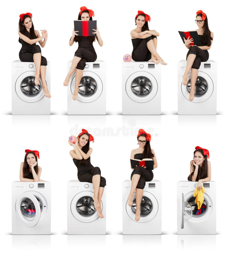 Cute Girl on Washing Machine Funny Collage royalty free stock photos