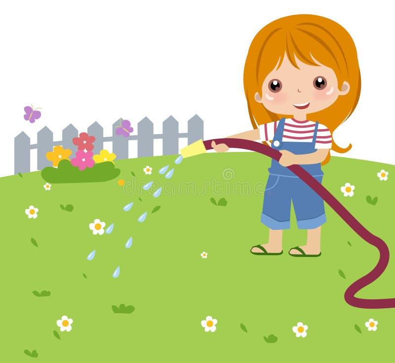 Cute Girl Watering Flower Stock Photos