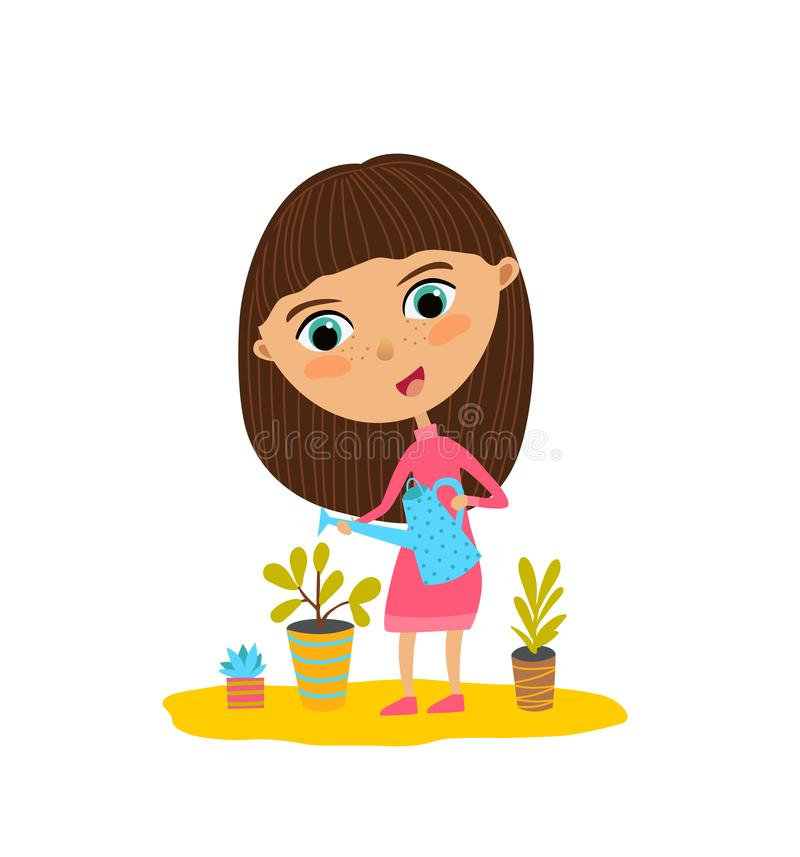 Cute girl is watering the flowers. Vector illustration of flat design stock illustration