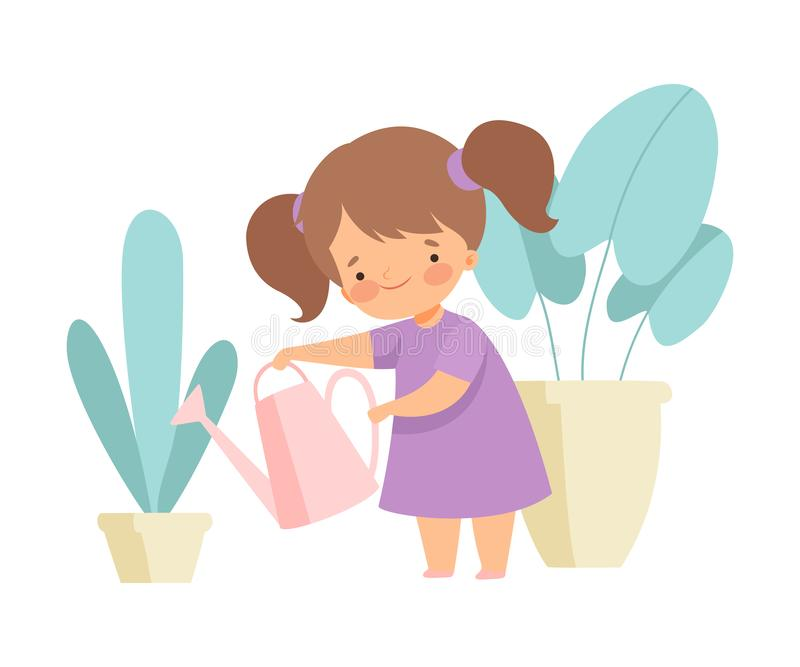 Cute Girl Watering Houseplants, Adorable Kid Doing Housework Chores at Home Vector Illustration. On White Background royalty free illustration