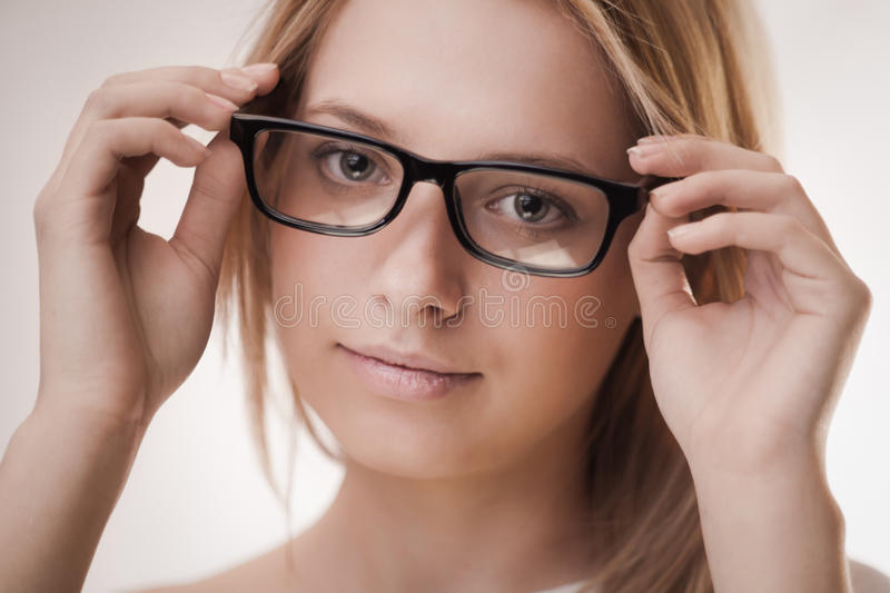 Download Cute girl wearing glasses stock image. Image of short - 23436189