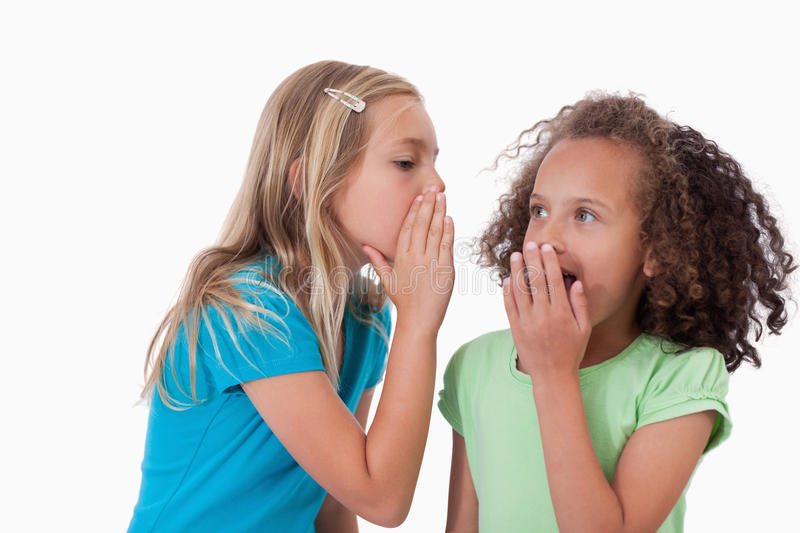 Download Cute Girl Whispering A Secret To Her Friend Stock Image - Image: 22691831