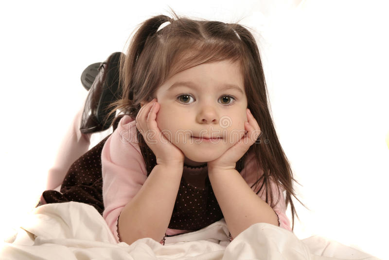Cute girl on white stock image