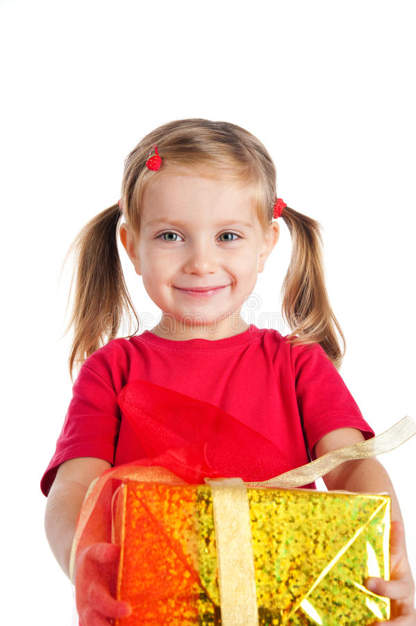 Free Cute Girl Wih The Gift Royalty Free Stock Photos - 16479128