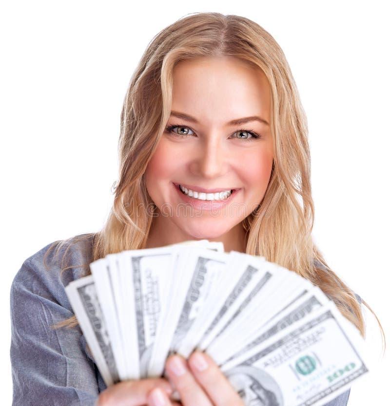 Cute girl winning money royalty free stock photo