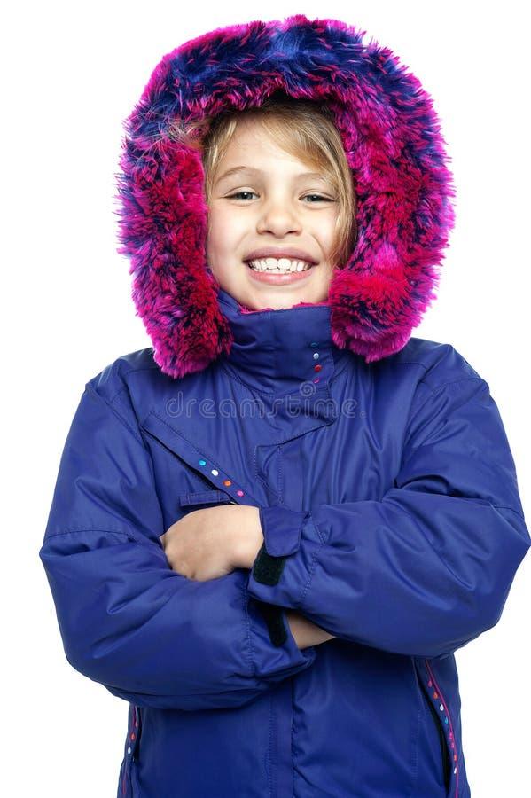 Cute girl winter portrait stock photos
