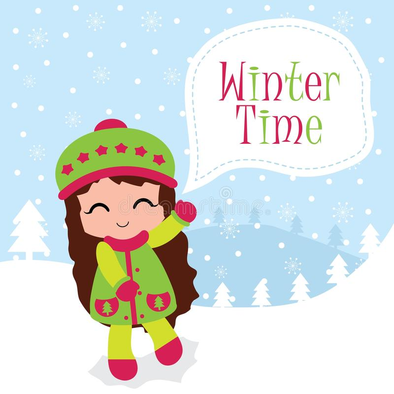 Cute girl and winter time text suitable for Christmas card. Vector cartoon illustration with cute girl and winter time text suitable for Christmas card design vector illustration