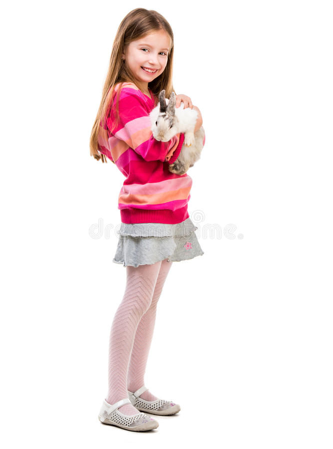 Free Cute Girl With Baby Rabbit Royalty Free Stock Photography - 53671437
