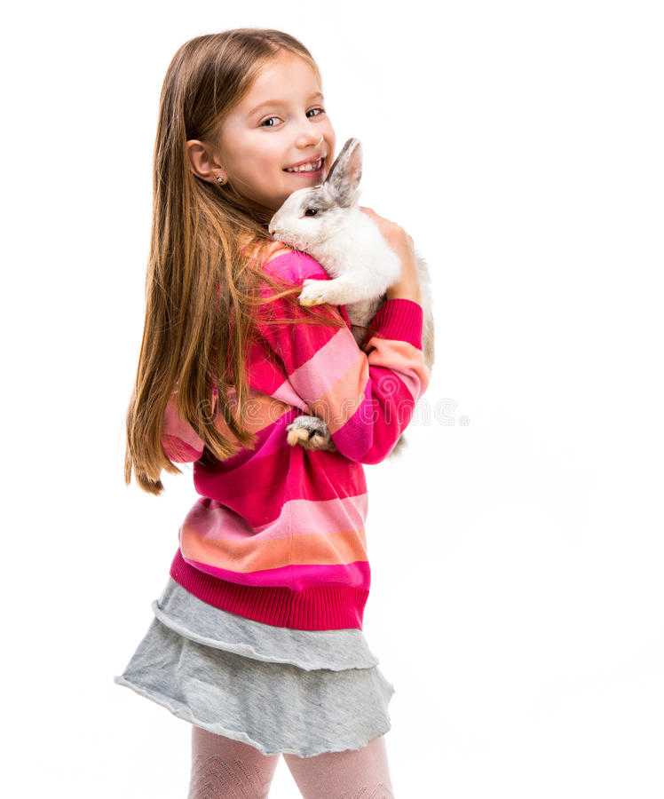 Free Cute Girl With Baby Rabbit Royalty Free Stock Images - 53672059