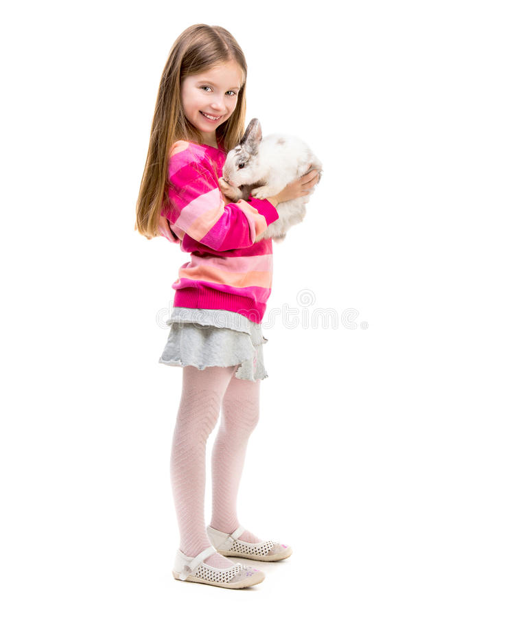 Free Cute Girl With Baby Rabbit Royalty Free Stock Photography - 57345277