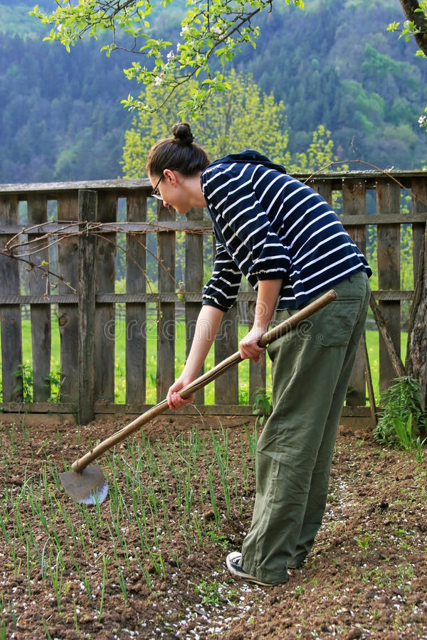 Cute girl working in the garden royalty free stock photo