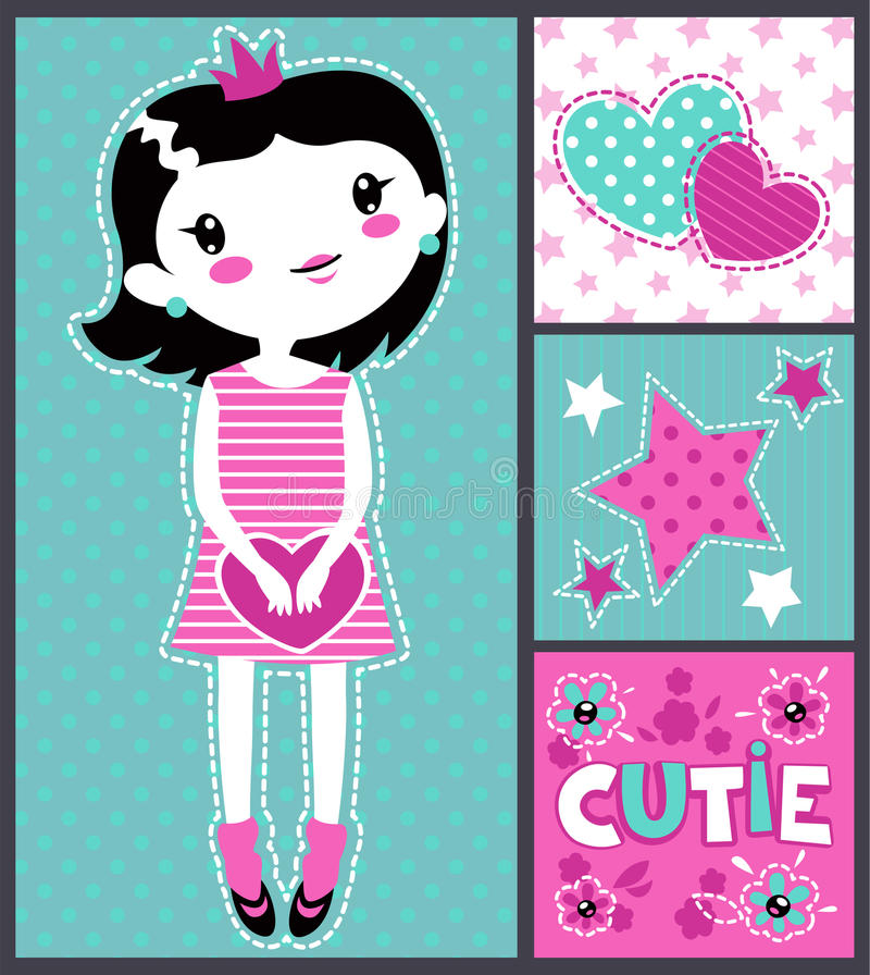 Cute girlish illustration. Cutie set for textile or typography design royalty free illustration