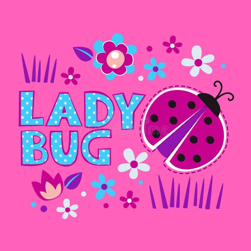 Cute girlish illustration with ladybug and flowers stock illustration