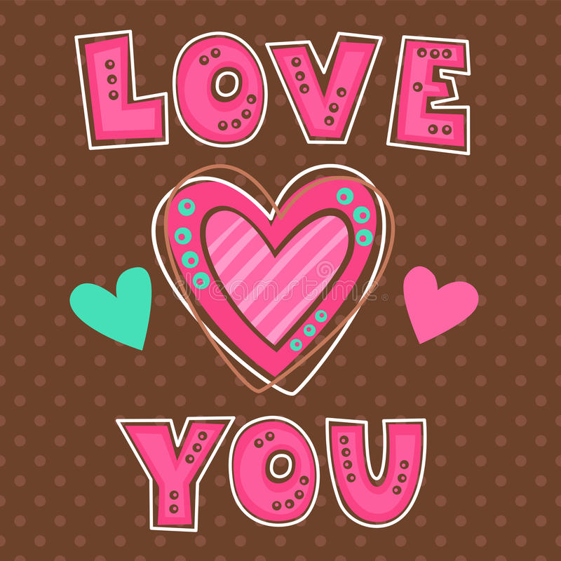 Free Cute Girlish Illustration With Hearts Stock Image - 66704221