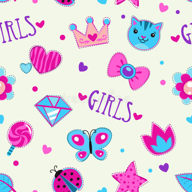 Cute girlish seamless pattern. With funny doodle elements, texture stock illustration