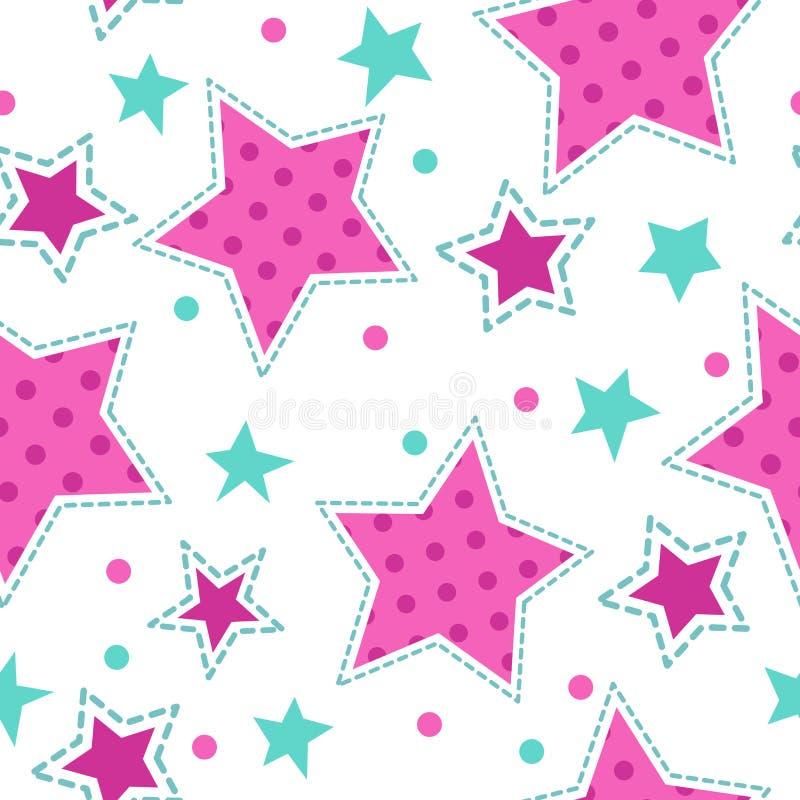 Cute girlish seamless pattern stock illustration