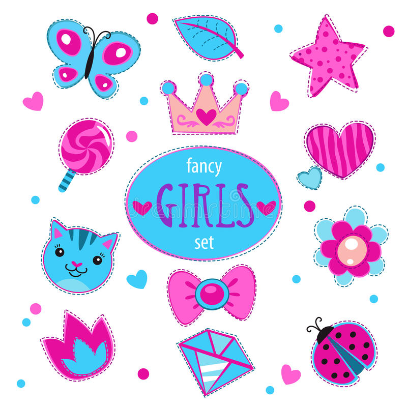 Cute girlish set vector illustration