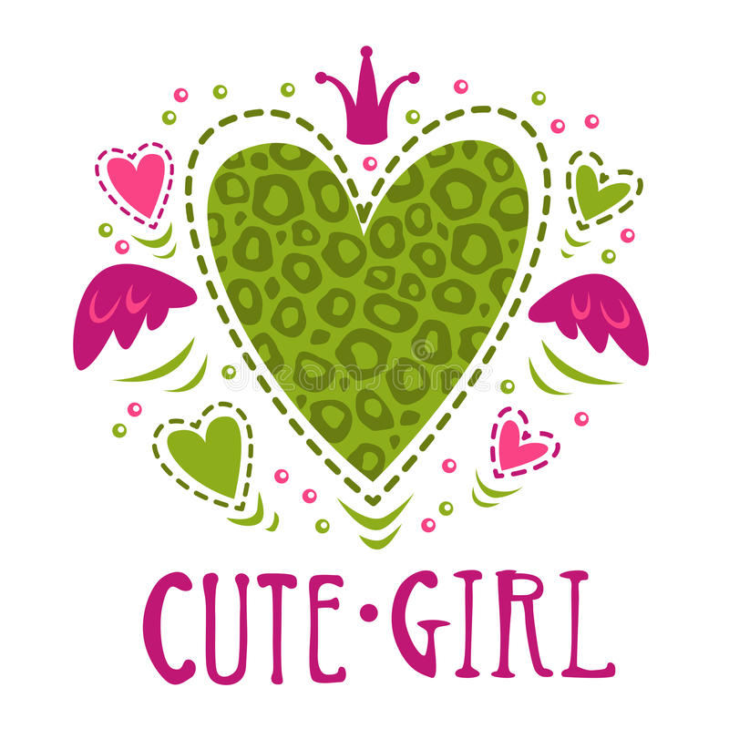 Cute girlish vector illustration. Funny girls print for t shirt design royalty free illustration