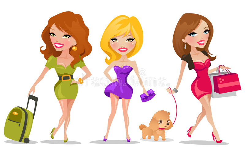 Download Cute Girls stock vector. Image of lady, hair, life, brunette - 16003084