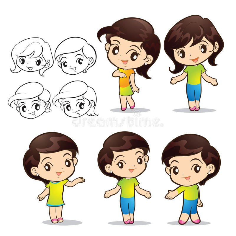 Cute girls character. Actions lovely stock illustration