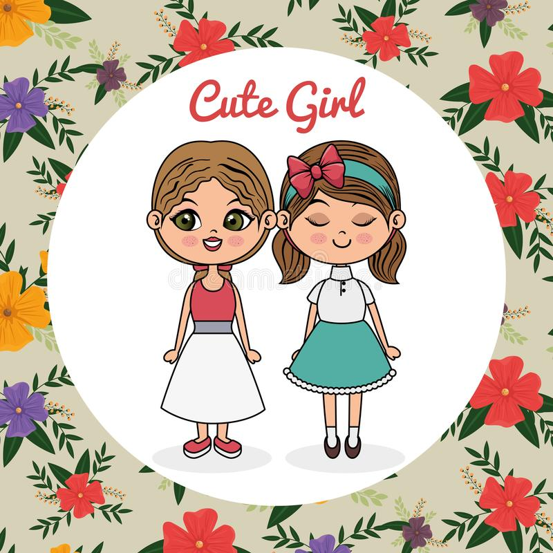 Cute girls couple characters with floral frame stock illustration