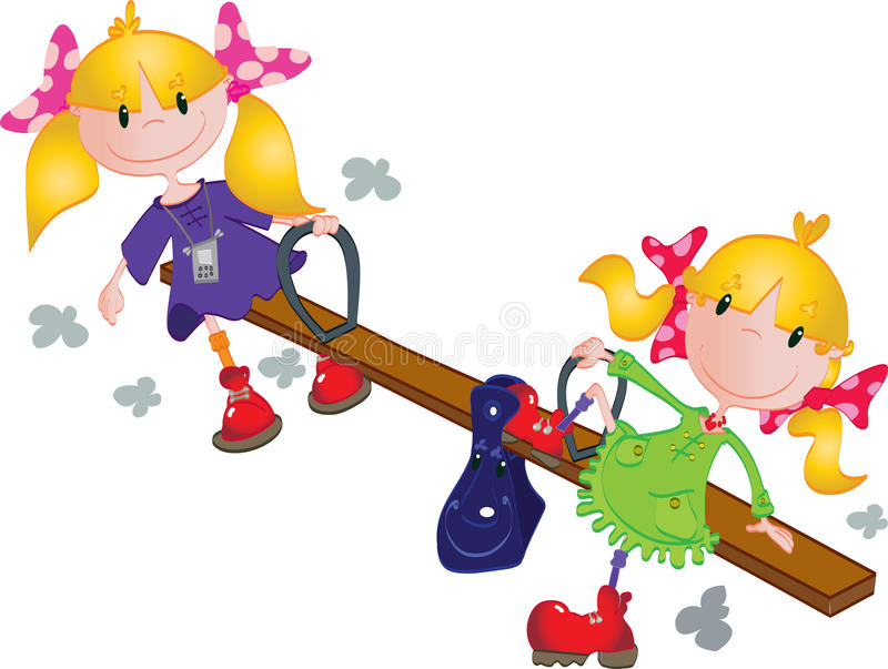 Cute Girls On The Seesaw Stock Illustration