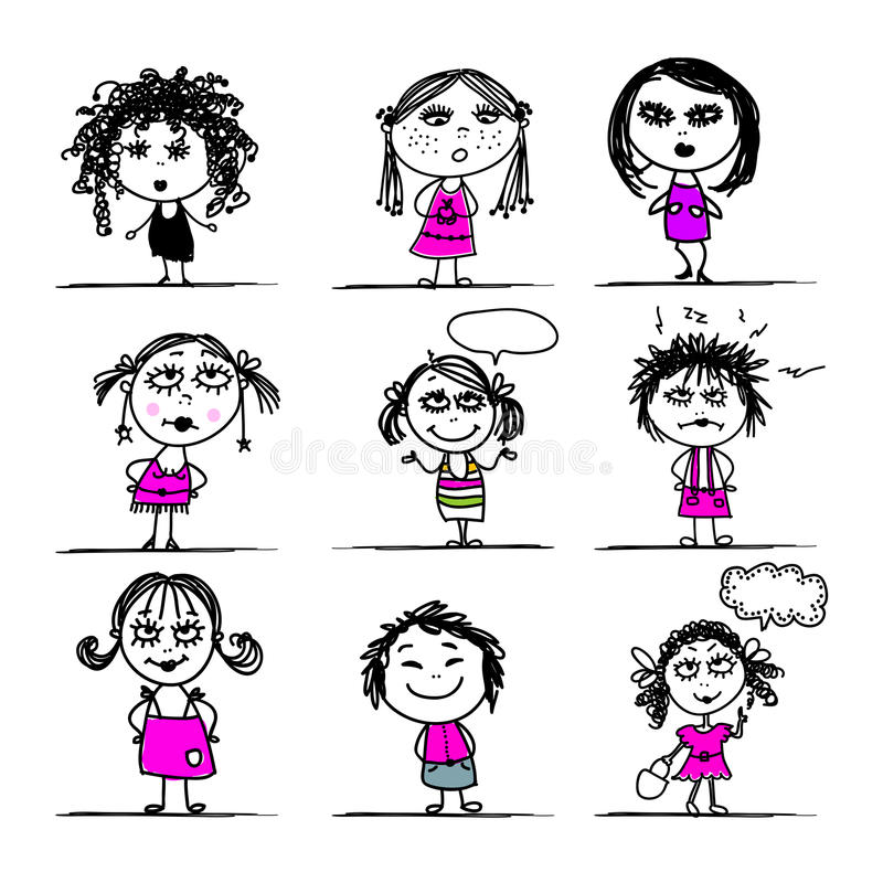 Download Cute Girls, Sketch For Your Design Stock Vector - Image: 30349398