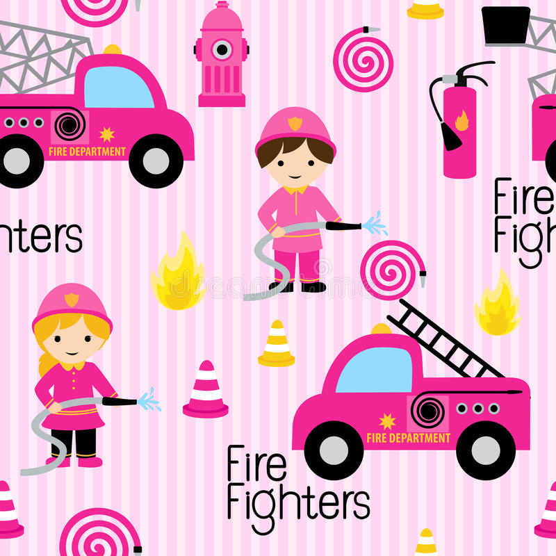 Cute girly firefighters stock photography