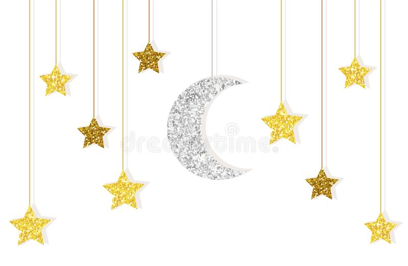 Cute glitter gold and silver moon and stars hanging on strings stock illustration