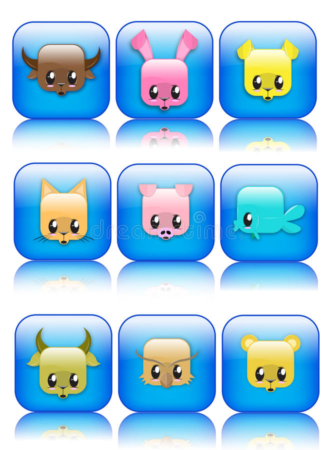 Download Cute glossy animal icons stock vector. Image of agricultural - 12813000