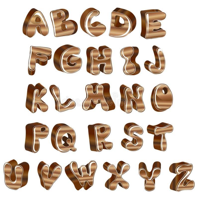 Cute glossy wood alphabet vector illustration