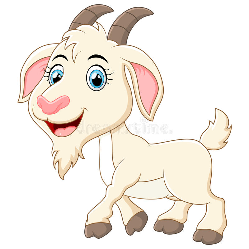 Cute goat cartoon stock illustration
