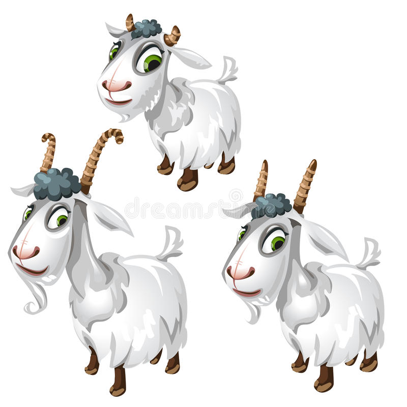 Cute goats with green eyes. Vector animals. Isolated for animation, childrens prints, cartoon and other design needs stock illustration
