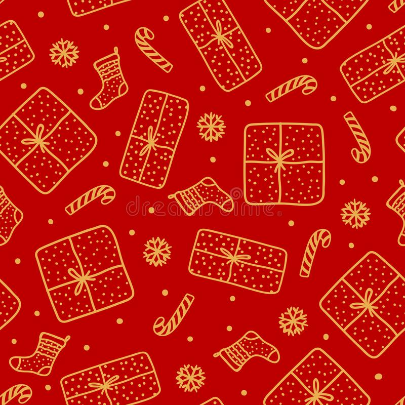 Free Cute Gold Christmas Seamless Pattern. Handdrawn Gift Box, Santa Sock, Candy Cane Isolated On Red Background Design Texture Holiday Stock Photography - 133460982