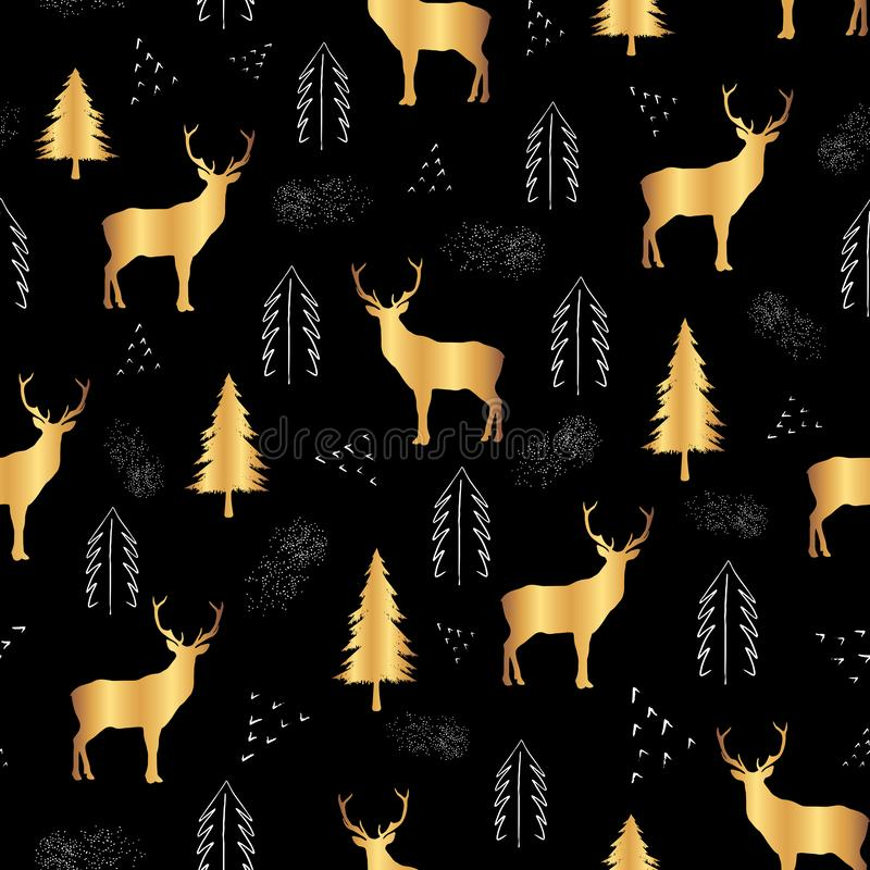 Cute golden deer fire trees and white dots on black background. Seamless repeat christmas pattern for print or textile design. Cute golden deer fire trees and vector illustration
