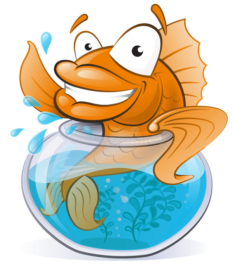 Cute Goldfish in his little Fishtank. Great illustration of a Cute Cartoon Goldfish waving from the comfort of his Goldfish Bowl royalty free illustration