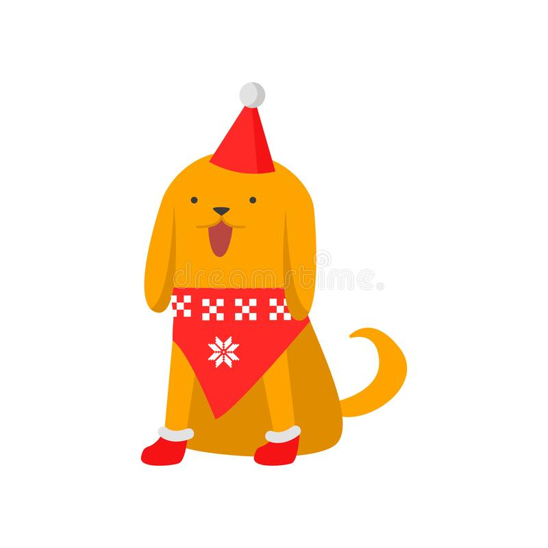 Cute good dog symbol of the new year. The dog in a trendy New Year s sweater, cap and boots stock illustration