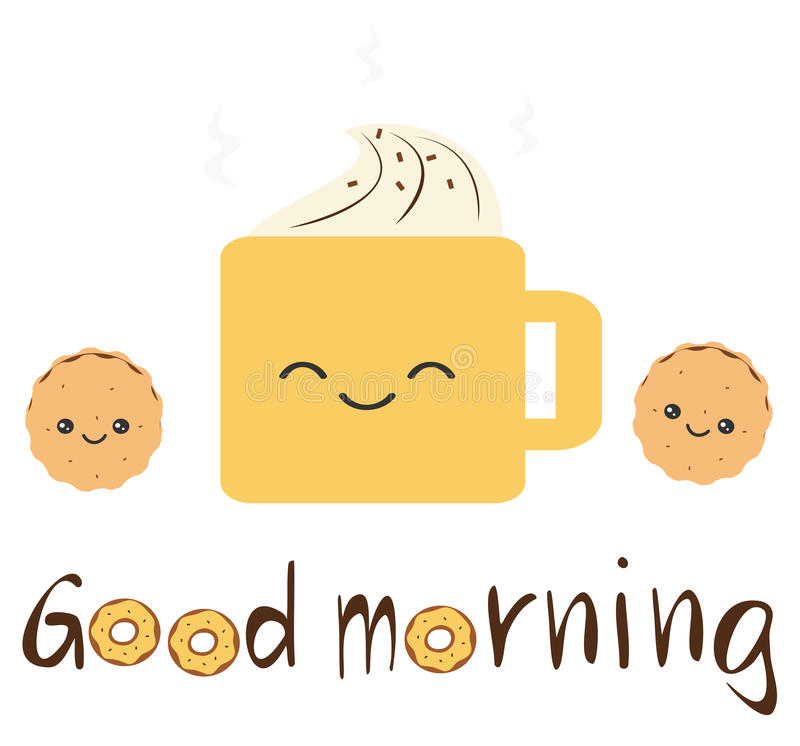 Cute Vector Good Morning Quote With Cartoon Cookies, Coffee With Whipped  Cream And Donuts