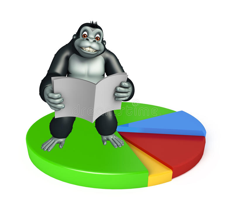 Cute Gorilla cartoon character with news paper and circle sign. 3d rendered illustration of Gorilla cartoon character with news paper and circle sign vector illustration