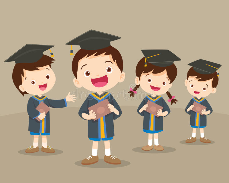 Cute graduation students. Cute boys and girls graduates. Vector set.Happy graduated students. Cheerful young graduated students be happy stock illustration